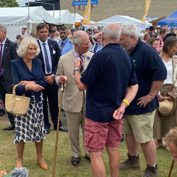 Prince of Wales and Camilla at the Horticap stand at Great Yorkshire Show 2021