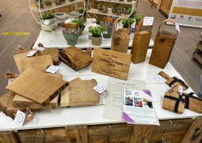 wooden cutting boards on a table